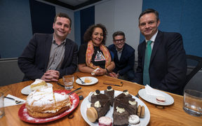 Act Party leader, David Seymour, Maori Party co-leader Marama Fox, Checkpoint host John Campbell and Green Party leader James Shaw in the Checkpoint studio for a minor party leader luncheon.