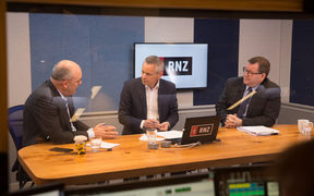 National's Steven Joyce, left, RNZ host Guyon Espiner, and Labour's Grant Robertson in Morning Report's Auckland studio.