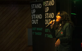 Irene Folau of Aorere College, performing at Stand Up Stand Out