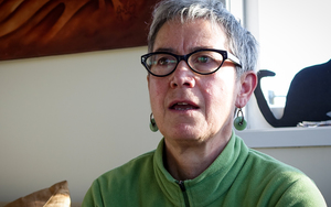 Professor Jane Kelsey at her home