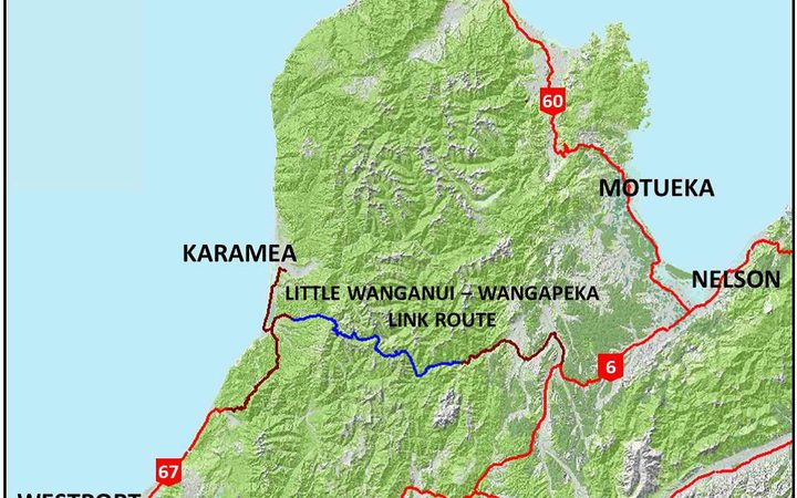 A map showing the proposed new road through Kahurangi National Park