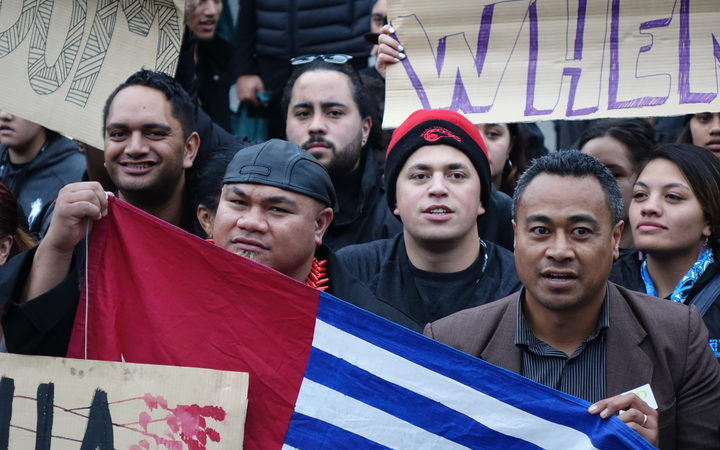 David Tua (left) and Labour's Pacific Vice-President Jerome Mika (right) march on parliament for West Papua freedom.