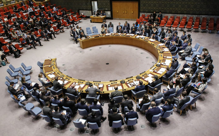 The UN Security Council during an emergency meeting over North Korea's latest nuclear test, on 4 September, 2017, at UN Headquarters in New York.