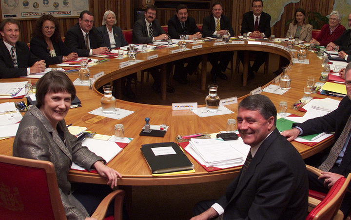 Labour-Alliance coalition cabinet, after the 1999 election. Helen Clark and Jim Anderton at front. Photo / NZ Herald