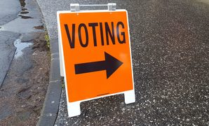 Voting sign, Mt Albert electorate, 12 September 2017. Polling booth.