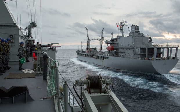 The HMNZS ENDEAVOUR in company with an Australian frigate while working with the Royal Australian Navy during her deployment