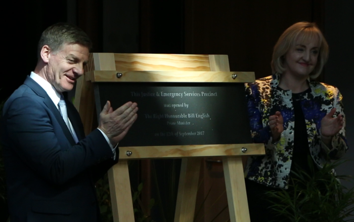 Prime Minister Bill English and Justice Minister Amy Adams at the opening of Christchurch's new Justice Precinct.