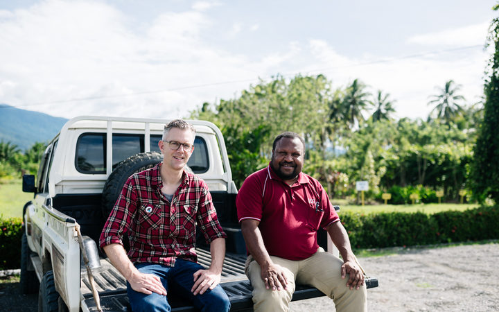 Mike Murphy, Managing Director of Kokako Organic Coffee Roasters, and Daniel Kinne, Chairman of Highlands Organic Agriculture Cooperative in PNG