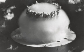 A nuclear explosion from an atomic bomb test, mushroom cloud.