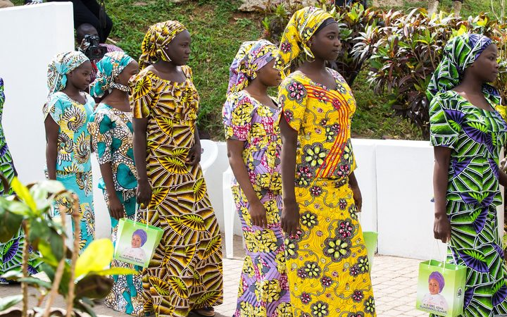 The 'Chibok girls' in May, shortly after they were rescued from Boko Haram.