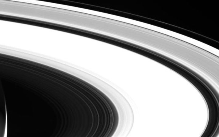 One of the last images of the Saturn system taken by NASA's Cassini spacecraft on Sept. 13, 2017