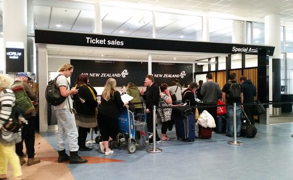 Air New Zealand passengers finding out information after flights were cancelled.