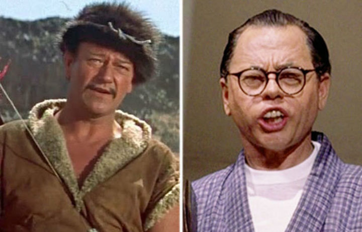 (L-R) John Wayne as Genghis Khan in The Conqueror (1956) and Mickey Rooney as Mr. Yunioshi in Breakfast at Tiffany's (1961).