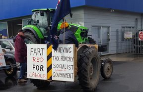 Farmers protest in Morrinsville about what they see as continued attacks on rural New Zealand.