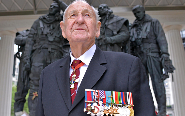 Les Munro at the Bomber Command Memorial in London.