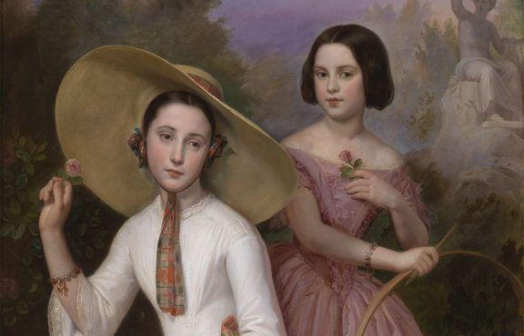 Natale Carta, Portrait of Anna and Luisa, Daughters of Prince Barberini Colonna, Wives of Tommaso and Pierfrancesco Corsini, 1852, oil on canvas. Florence, Private Collection