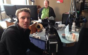 Cameraman-turned-Director Grant Findlay filming the very first frames of the documentary Radio Dunedin in August 2015 with veteran announcer Lyndsay Rackley.