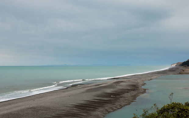 The estuary of the Hurunui River where it meets the sea in Canterbury.