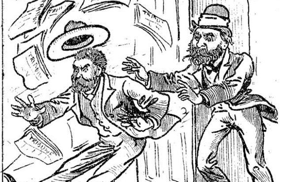 A cartoon from The Observer of Desmond being evicted from the office he used to publish the Tribune in 1880.