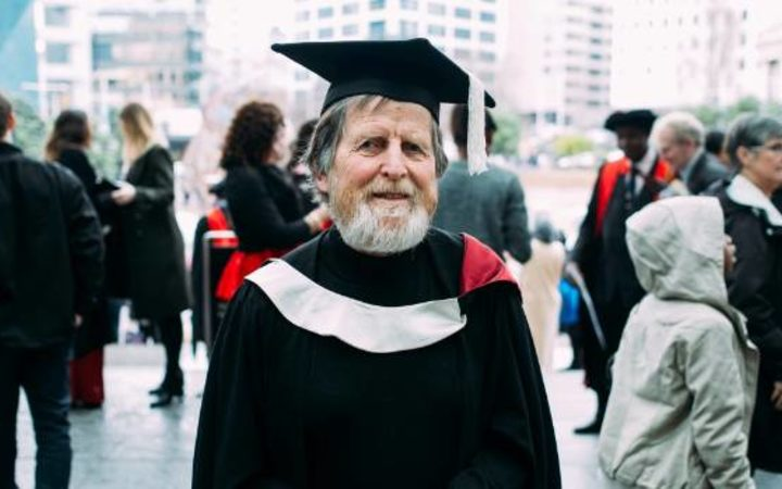 Bruce Dyer who earned his Master's Degree from AUT at the age of 75