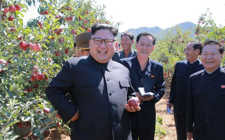 An undated picture released from North Korea's official Korean Central News Agency (KCNA) on September 21 shows North Korean leader Kim Jong-Un visiting a fruit farm at Kwail-ŭp County.