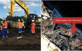 Pipeline repairs, at left, and an image released by Refining NZ on the pipeline damage.