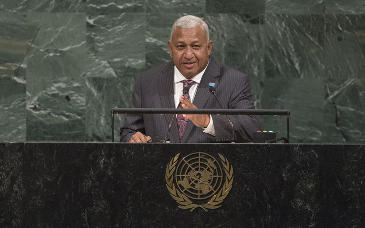 Frank Bainimarama contributing to the general debate of the 72nd Session of the UN General Assembly.