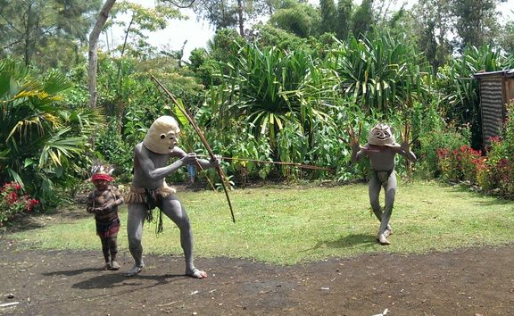 Traditionally garbed Papua New Guinea mudmen.