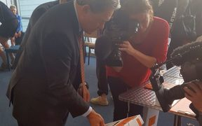 Winston Peters casts his early vote in the 2017 general election.