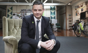 James Shaw at the Greens headquarters in Auckland.