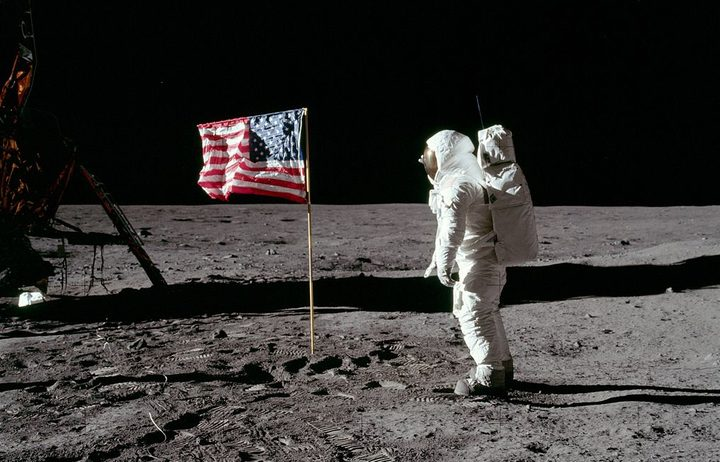 Buzz Aldin salutes the US flag on the moon