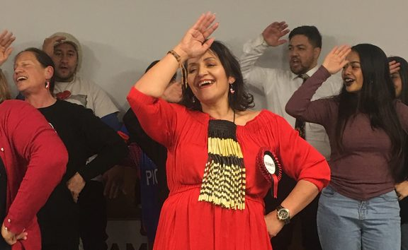 Marama Fox singing with whanau, friends and supporters at Te Rangimarie Marae in Masterton.