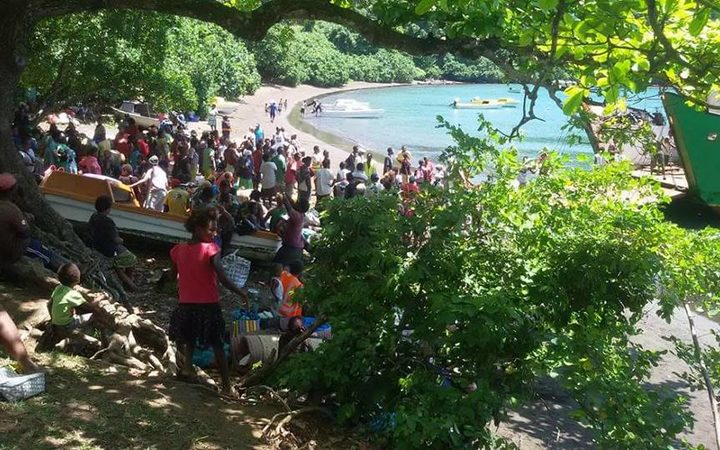 People on Ambae waiting to be evacuated to the other side of the island.