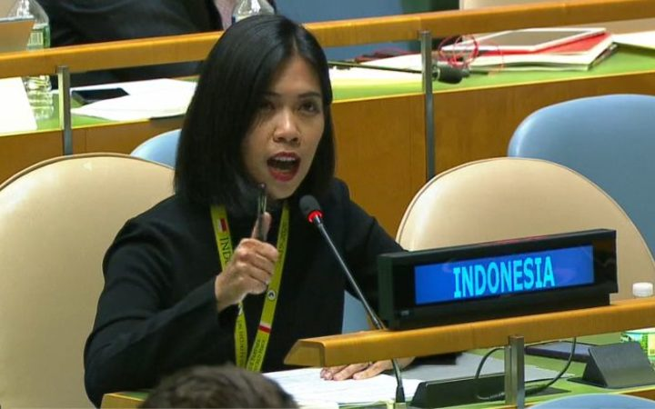 Indonesian representative at the UN General Assembly in New York, September 2017.
