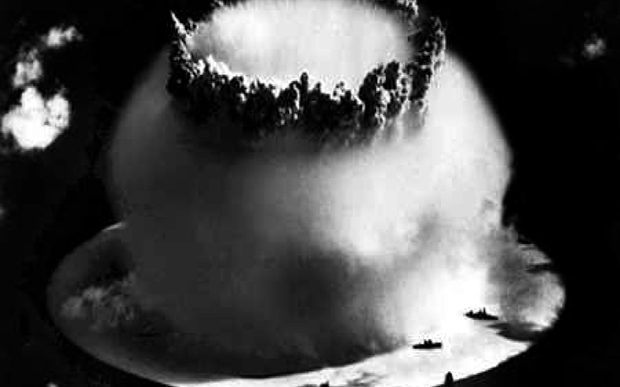 The United States launched the Baker underwater nuclear test in Bikini Atoll, Marshall Islands, July 1946.