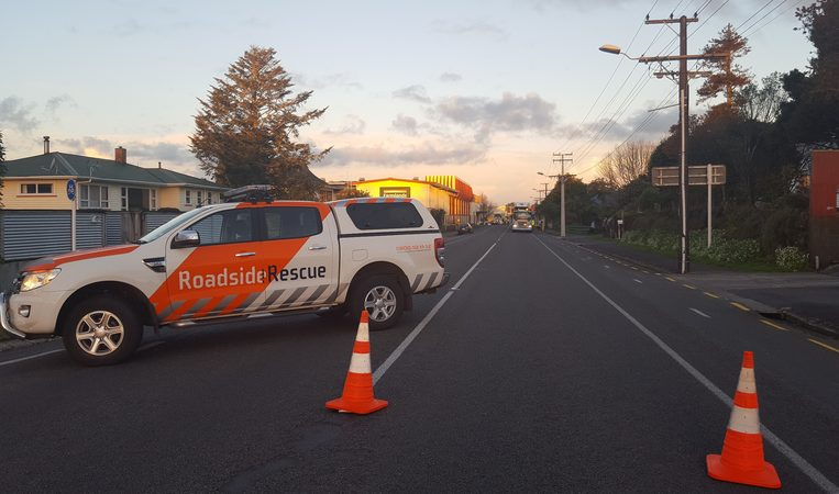 Police put up a cordon at the scene of the crash in Inglewood.