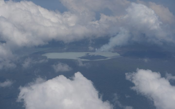 A NZDF Orion flew over Monaro volcano to  monitor its activity