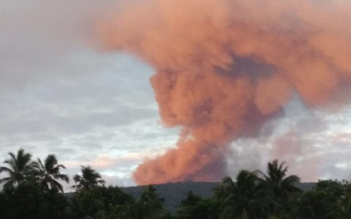 Ambae volcano, Vanuatu, pictured on 26 September.