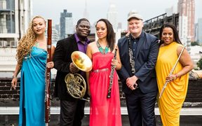 Imani Winds by Matthew Murphy: (l-r: Monica Ellis (bassoon), Jeff Scott (french horn), Toyin Spellman-Diaz (oboe), Mark Dover (clarinet), Valerie Coleman (flute)