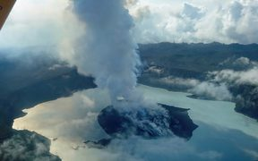 An aerial photo taken on 25 September by vulcanologist Thomas Boyer of Manaro Voui volcano.