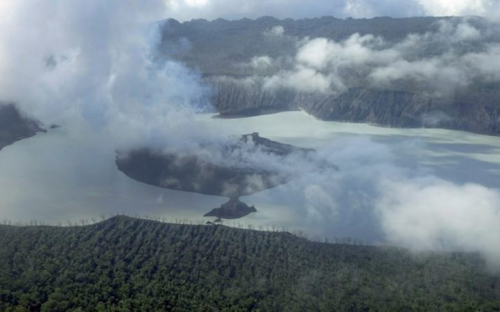 An aerial photo of Manaro Voui volcano on 25 September.