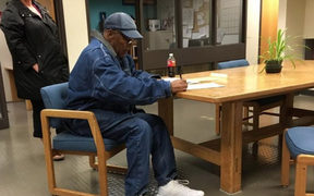 OJ Simpson signed release documents before walking out of a Nevada jail just after midnight, local time