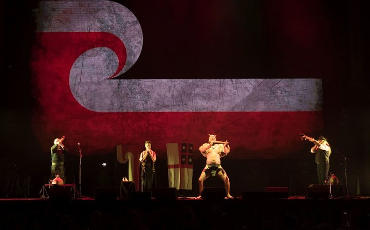 Alistair Fraser, Ariana Tikao, Horomona Horo and James Webster perform Raupatu at the SIlver Scrolls Dunedin 2017