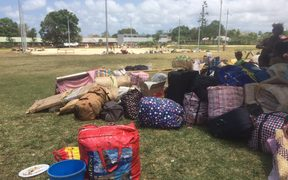The bags of people who have been evacuated from Ambae.