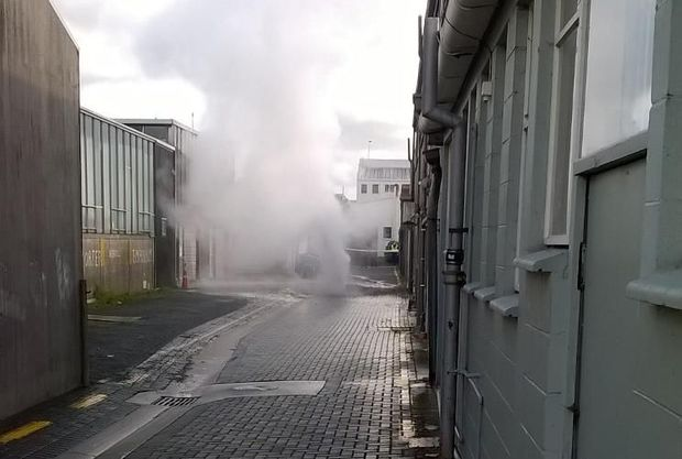 The bore after its initial blow-out on Sunday, which sent plumes of water into the air.