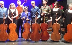 The cellists of the 2017 Adam Chamber Music Festival with soprano Jenny Wollerman (left)
