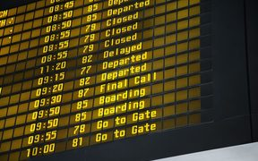 Departure board, airport