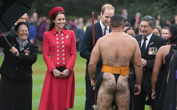 The Duke and Duchess of Cambridge with kaumatua Lewis Moeau, right, are greeted at a powhiri in the grounds of Government House.