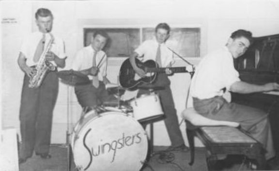 The Swingsters 1957 Magness Recording Studio in Auckland. Kevin Paul,  Bruce King, Ron McDonald, Dick Blundell.