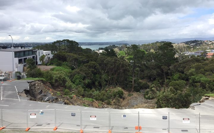 Part of the carpark slipped down the valley. Photo: RNZ / Zac Fleming